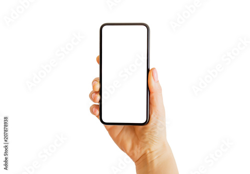 Obraz Person holding smartphone in hand. Mobile app mockup. - fototapety do salonu