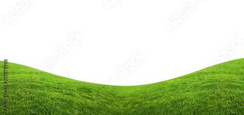 Fotobehang Wit Green grass texture background isolated on white background with clipping path.