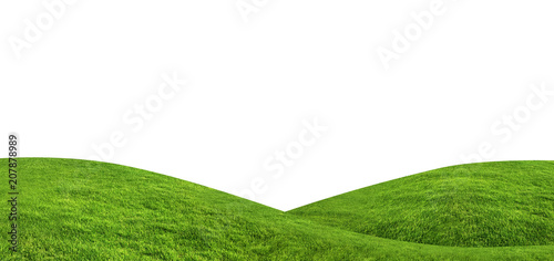 Spoed Foto op Canvas Heuvel Green grass texture background isolated on white background with clipping path.