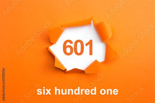 Fotografia  Number 601 - Number written text six hundred one