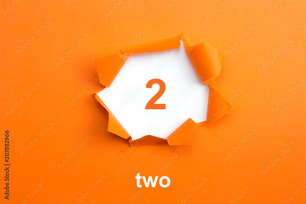 Fototapeta Number 2 - Number written text two