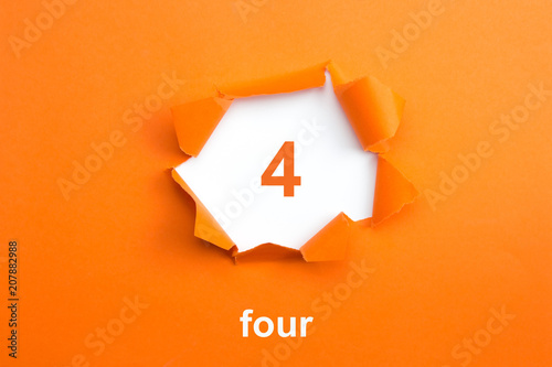 Number 4 - Number written text four