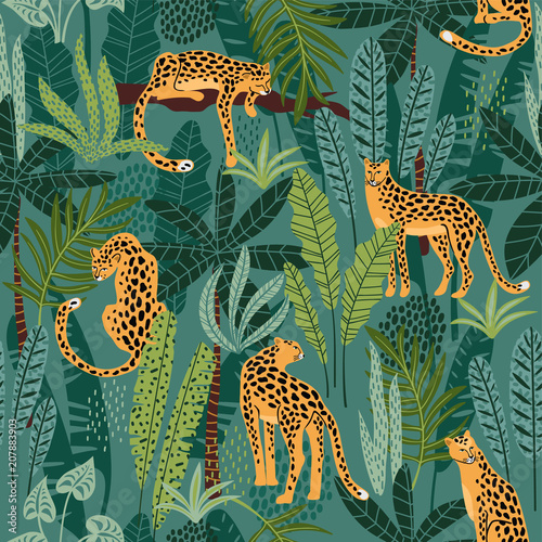 Vászonkép Vestor seamless pattern with leopards and tropical leaves.