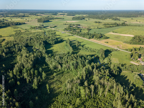 Foto op Canvas Pistache drone image. aerial view of rural area with fields and forests