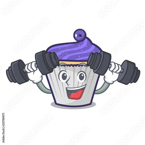 Fotografija  Fitness blueberry cupcake character cartoon