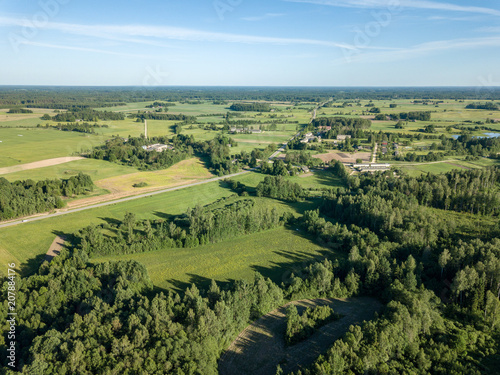 Papiers peints Pistache drone image. aerial view of rural area with fields and forests