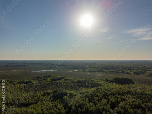 Poster Donkergrijs drone image. aerial view of rural area with fields and forests