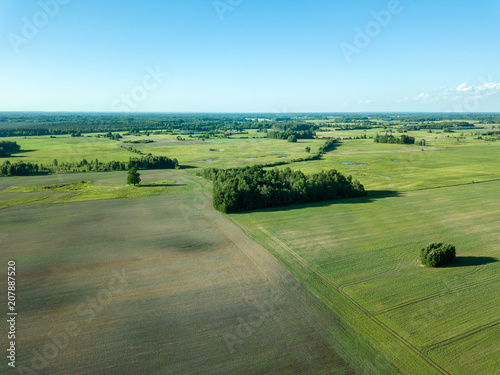 Spoed Foto op Canvas Pool drone image. aerial view of empty cultivated fields