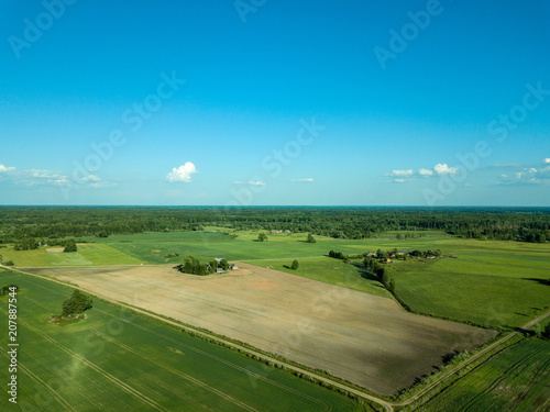 Foto op Aluminium Blauw drone image. aerial view of countryside road network, cultivated fields and forest textures
