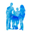 isolated, blue watercolor silhouette family
