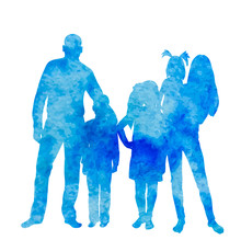 Blue Watercolor Silhouette Family