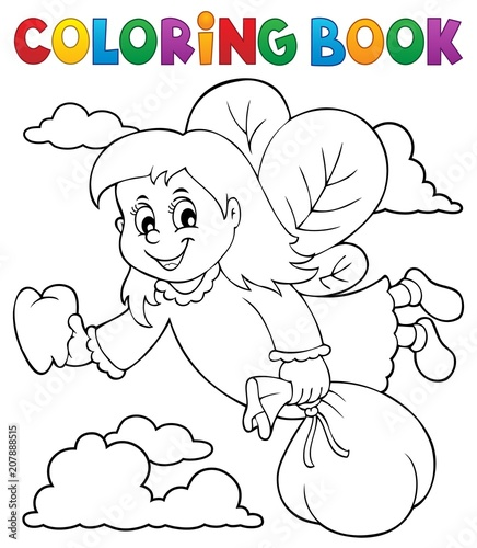 Poster Voor kinderen Coloring book tooth fairy theme 1