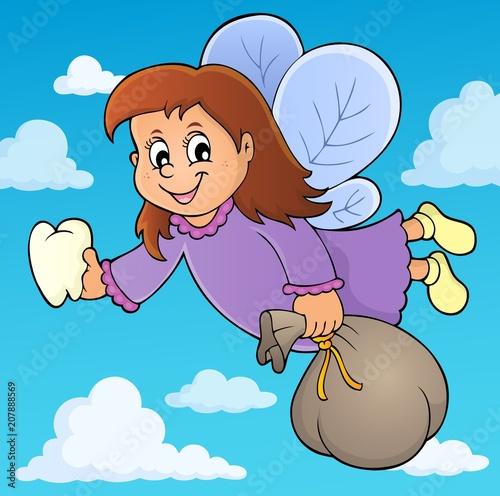 Deurstickers Voor kinderen Tooth fairy theme image 3