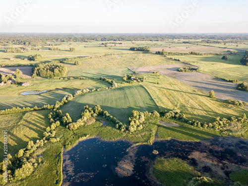 Keuken foto achterwand Beige drone image. aerial view of rural area with fields and roads