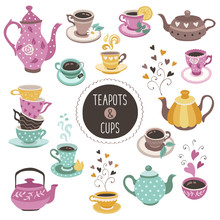 Hand Drawn Teapot And Cup Coll...