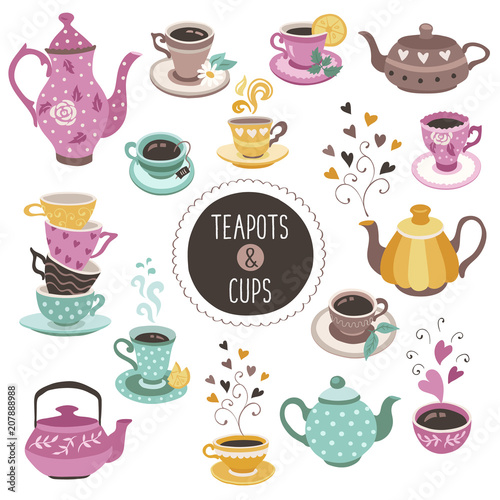 Fotomural Hand drawn teapot and cup collection