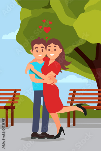 Aluminium Prints Wild West Romantic couple hugging in park, woman raising leg. Wooden benches, green tree and blue sky on background. Flat vector design