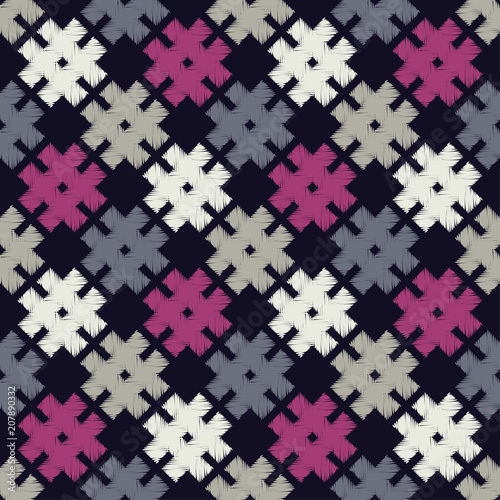 Poster Pixel Seamless vector background with doodle snowflakes. Brushwork. Hand hatching. Winter pattern. Textile rapport.