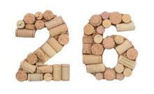 Number 26 Twenty Six Made Of Wine Corks Isolated On White Background