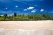 Sea view from tropical beach with sunny sky. Summer paradise beach