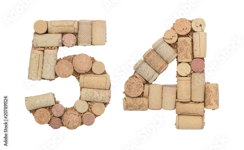Fotografia  Number 54 fifty four made of wine corks Isolated on white background
