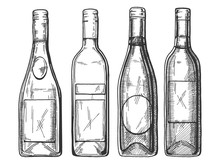 Vector Illustration Of A Different Red And White Wine And Champaign Bottles Set. Vintage Engraving Style.