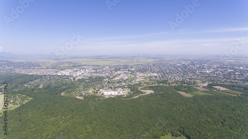 Foto op Aluminium Khaki Panorama from the height of the Russian village