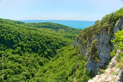 Foto op Canvas Pistache A mountain range not far from the city of Sochi. High rocks and a cliff beneath them. Eagle rocks. Green forest below.