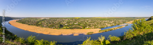 Fotografie, Obraz  beautiful panorama View to the Dniester River, Moldova, Tipova On the opposite B