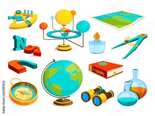 Plakát  Vector colored pictures of science and geography symbols