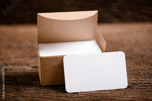 Fotografia, Obraz  white blank business name card for mock up on wood background