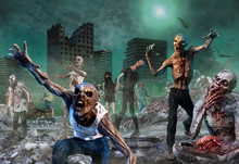 Zombie Scene 3D Illustration