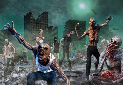 Photo  Zombie Scene 3D illustration