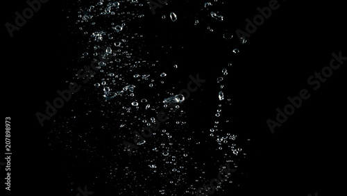 Fototapeta Soda water liquid splashing and floating in black background which represent feeling of freshness or refreshing from carbonate drink  obraz