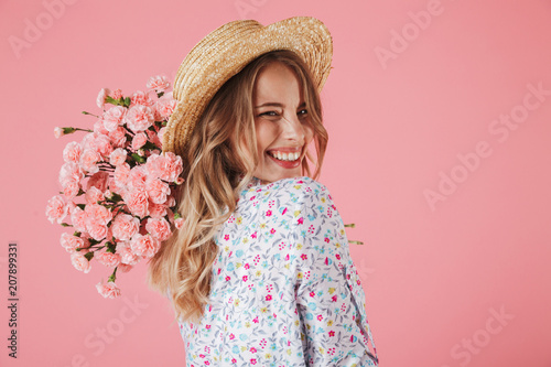 Close up portrait of a lovely woman in summer dress - fototapety na wymiar
