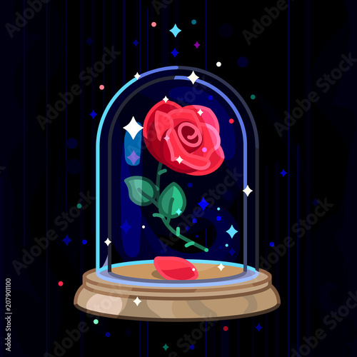 Fotografía vector Beauty and Beast. Rose in glass dome, flask
