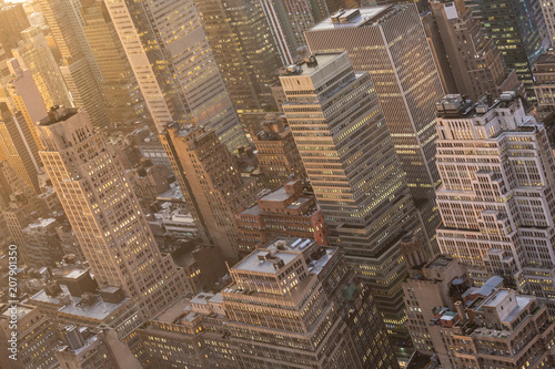 Fotobehang New York City Aerial view of New York City skyline with Manhattan midtown urban skyscrapers at dramatic after the storm sunset, USA.
