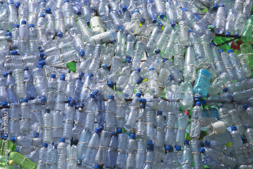 Fotografie, Obraz  A lot of plastic waste bottles with neatly structured side by side