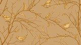 Seamless pattern with forest birds and tree branches.