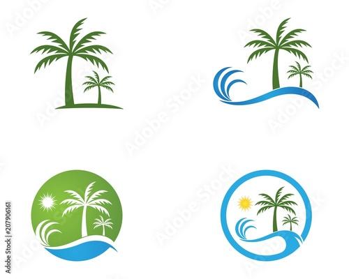 Coconut treee beach holidays logo vector template Canvas