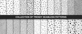 Big collection of memphis seamless vector patterns. Fashion design 80-90s. Black and white textures.