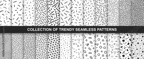Tuinposter Kunstmatig Big collection of memphis seamless vector patterns. Fashion design 80-90s. Black and white textures.