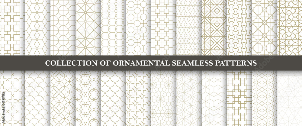 Fototapety, obrazy: Collection of seamless ornamental vector patterns. Grid geometric oriental design.