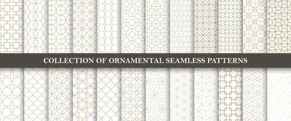 Collection of seamless ornamental vector patterns. Grid geometric oriental design.