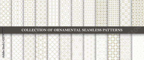 plakat Collection of seamless ornamental vector patterns. Grid geometric oriental design.