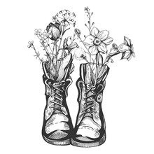 Old Vintage Boots Filled With Wild Flowers