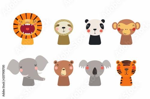 Printed kitchen splashbacks Illustrations Set of cute funny little animals bear, koala, panda, lion, sloth, monkey, elephant, tiger. Isolated objects on white. Vector illustration. Scandinavian style flat design. Concept for children print