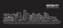 Cityscape Building Line Art Vector Illustration Design - Nantong City