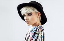 Beauty Portrait Of Fashion Blond Model In A Hat