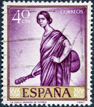 Stamp Printed By Spain, Shows The Copla By Romero De Torres